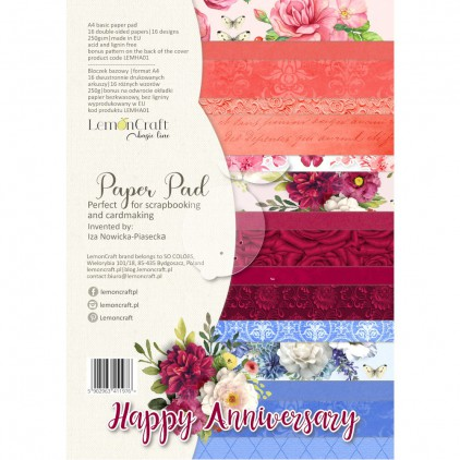 Happy Anniversary - Pad scrapbooking papers 21x29cm - Lemoncraft - LEMHA01 Creative Block