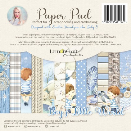 Boy's Little World - Pad scrapbooking papers 15x15cm - Lemoncraft - LEMBLW09