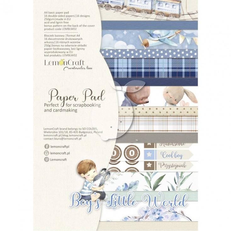 Boy's Little World - Bloczek papierów do scrapbookingu 21x29cm - Lemoncraft - LEMBLW08 Basic
