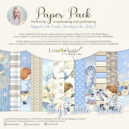 Boy's Little World - Set of scrapbooking papers 30x30cm - Lemoncraft - LEMBLW07