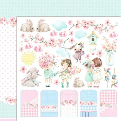 Girl's Little World 04 - Double-sided scrapbooking paper - Lemoncraft