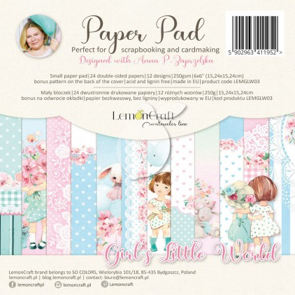 Girl's Little World - Pad scrapbooking papers 15x15cm - Lemoncraft - LEMGLW09