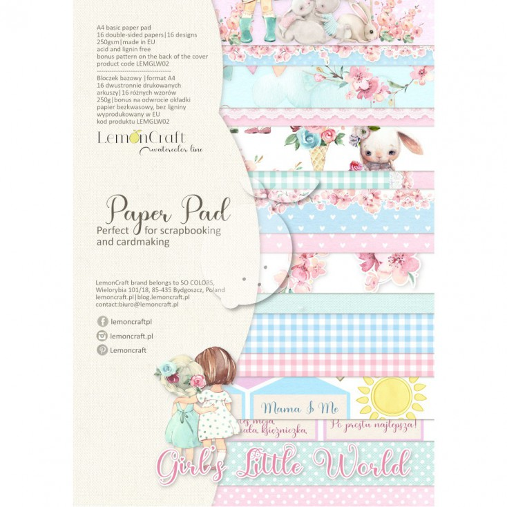 Girl's Little World - Pad scrapbooking papers 21x29cm - Lemoncraft - LEMGLW08 Basic