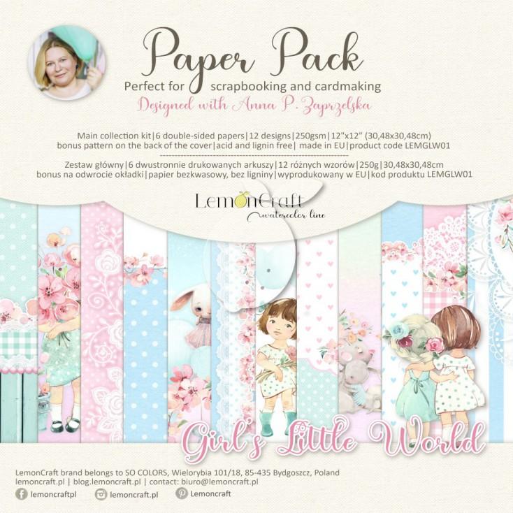 Girl's Little World - Zestaw papierów do scrapbookingu 30x30cm - Lemoncraft - LEMGLW07