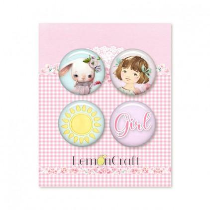 Girl's Little World LEMGLW10 - Zestaw samoprzylepnych ozdób / buttonów - Lemoncraft