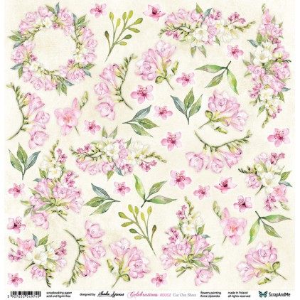 Celebrations Rouge Flowers - Papier do scrapbookingu 30x30 cm - Kwiaty do wycinania - ScrapAndMe