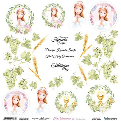 First Communion girl - scrapbooking paper 30x30 cm - pictures for cuting - ScrapAndMe