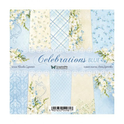 Celebrations Blue, small paper pad - Sets of scrapbooking papers 15x15cm - ScrapAndMe