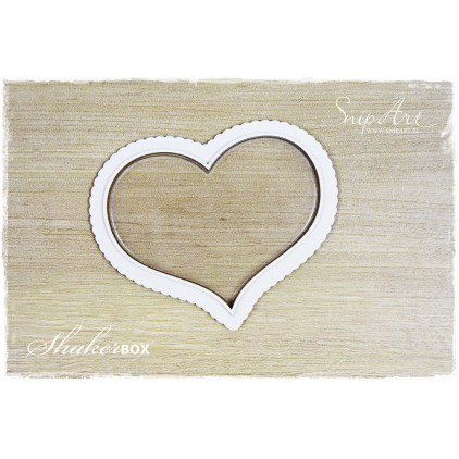heart big shaker box with glass 3D - laser cut, chipboard - snipart frosty moments