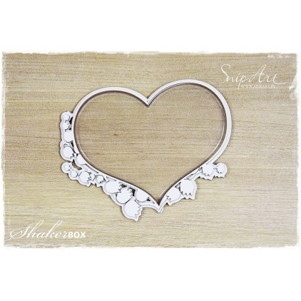 heart big with lily of the valley shaker box with glass 3D - laser cut, chipboard - snipart frosty moments