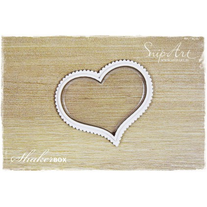 heart small shaker box with glass 3D - laser cut, chipboard - snipart frosty moments