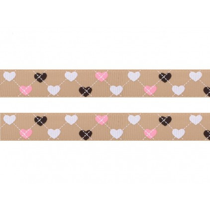 cappucino ribbon colorful hearts, narrow - grosgrain ribbon 1m