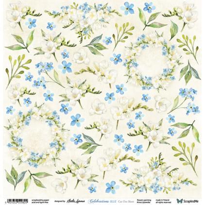 Celebrations Blue Flowers - Papier do scrapbookingu 30x30 cm - Kwiaty do wycinania - ScrapAndMe