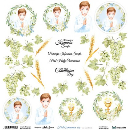 First Communion boy - scrapbooking paper 30x30 cm - pictures for cuting - ScrapAndMe