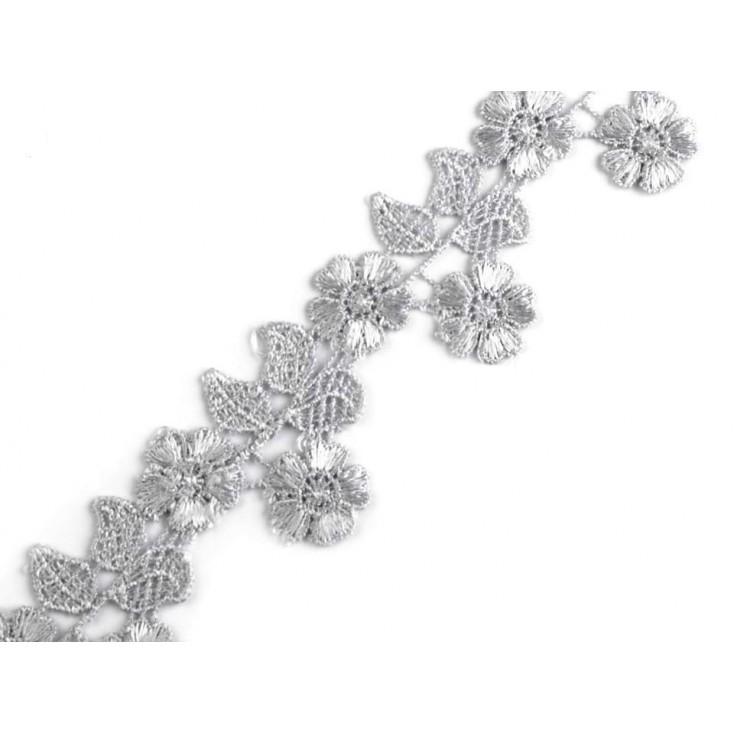 Koronka gipiurowa kwiaty - szerokość 4,5cm - szara - 1 metr