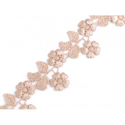 Koronka gipiurowa kwiaty - szerokość 4,5cm - cappucino - 1 metr