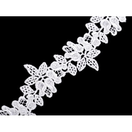 Guipure lace flowers - widh 3,4 cm - white - 1 meter