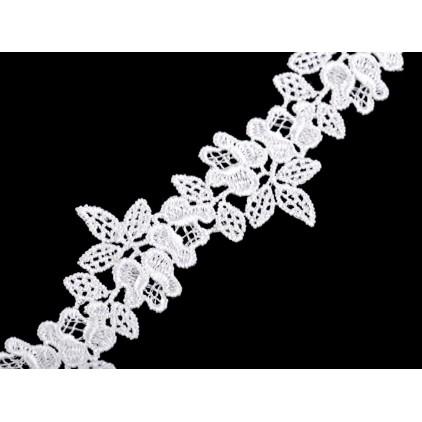 Koronka gipiurowa kwiaty - szerokość 3,4 cm - biała - 1 metr