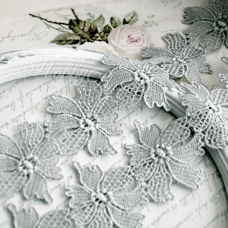 Guipure lace flowers - widh 6,3 cm - grey - 1 meter
