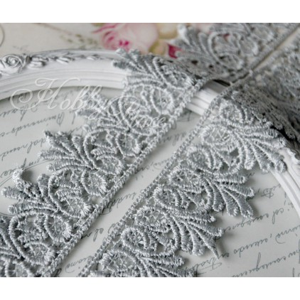 Guipure lace flowers - widh 5,5 cm - grey - 1 meter