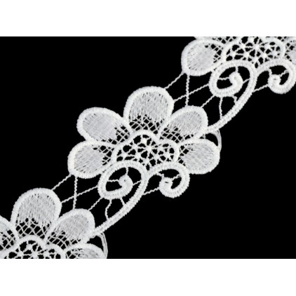 embroidered lace flowers - widh 7,5 cm - white - 1 meter