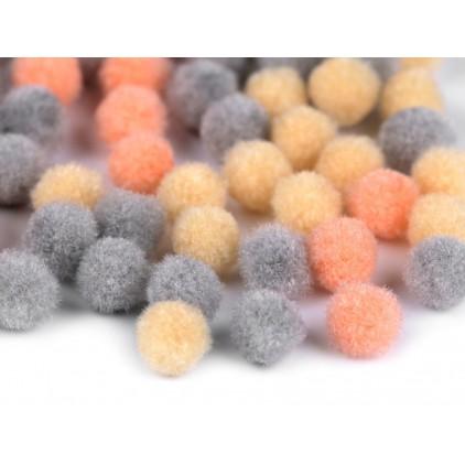 Vanilla, gray and peach pompoms -1 cm