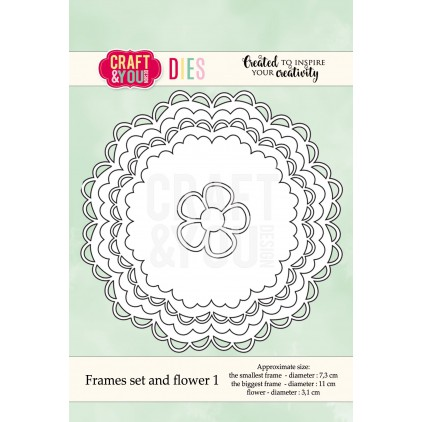 zestaw ramek z falbanką i kwiatkem - Craft&you design frames set and flower CW041