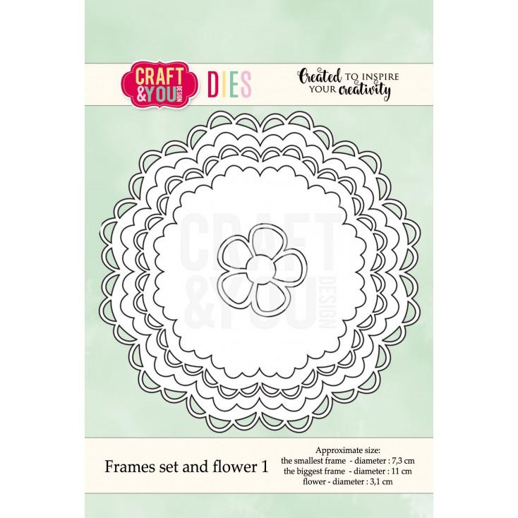 zestaw ramek z falbanką i kwiatkem - Craft&you design frames set and flower CW041