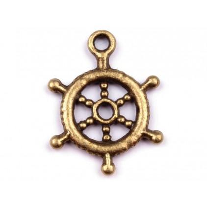 Metalowa zawieszka koło sterowe - stare złoto Ø 1,5 cm