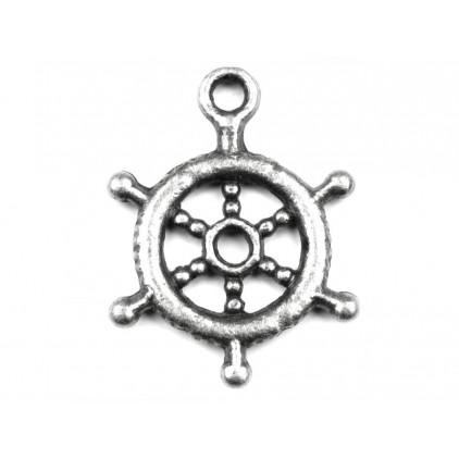 Metalowa zawieszka koło sterowe - srebrne Ø 1,5 cm