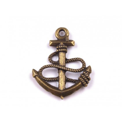 Metal anchor pendant - old gold 1,8 x 2,4 cm