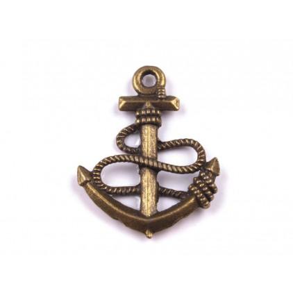 Metalowa zawieszka kotwica - stare złoto 1,8 x 2,4 cm