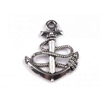 Metalowa zawieszka kotwica - srebrna 1,8 x 2,4 cm
