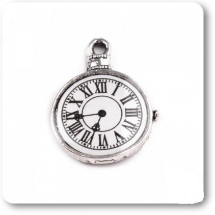 Metal clock pendant - silver 1,8 x 2,3 cm