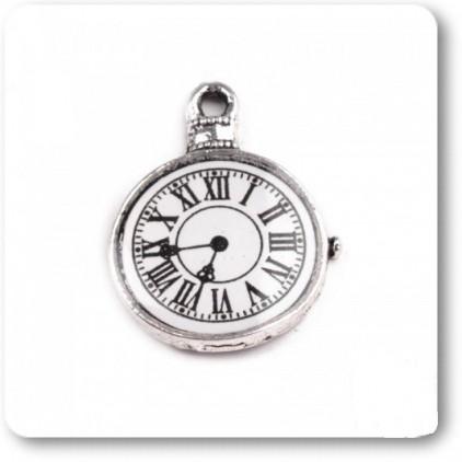 Metalowa zawieszka zegar - srebrna 1,8 x 2,3 cm