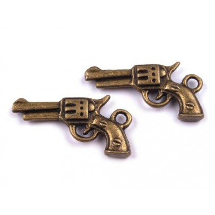 Metal gun pendant - old gold 1,2 x 2,2 cm