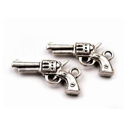 Metalowa zawieszka pistolet - srebrna 1,2 x 2,2 cm