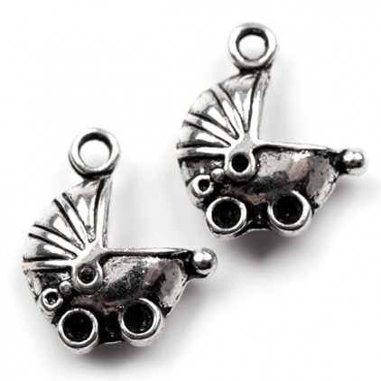 Metalowa zawieszka wóżek - srebrne 1,3 x 1,5 cm