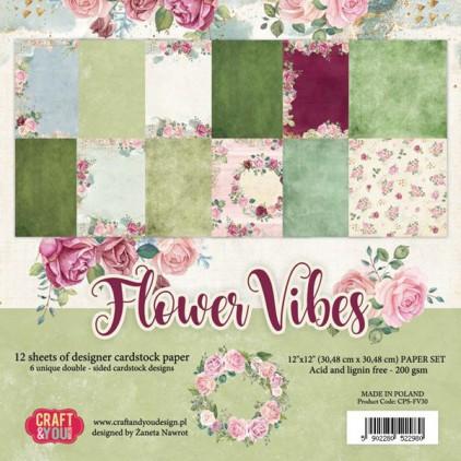 Flower vibes - Papiery do scrapbookingu 30x30cm - Zestaw - Craftandyoudesign