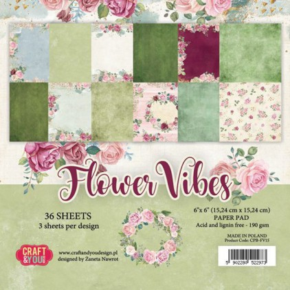 Flower vibes, small paper pad - Sets of scrapbooking papers 15x15cm - Craftandyoudesign