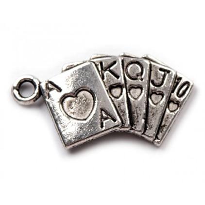 Metalowa zawieszka talia kart - srebrna 1,3 x 2,4 cm