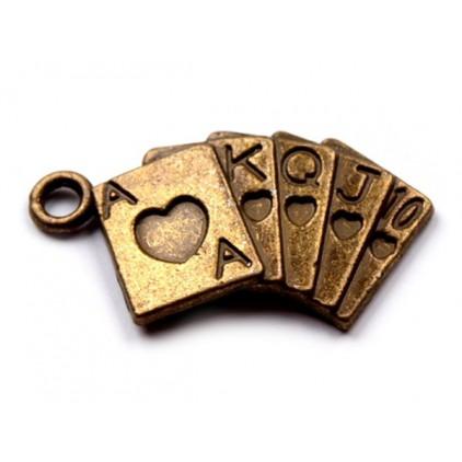 Metalowa zawieszka karty do gry - stare złoto 1,3 x 2,4 cm