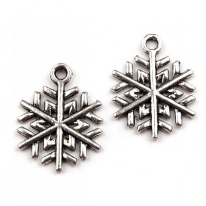 Metal snowflake pendant - silver Ø1,5 cm