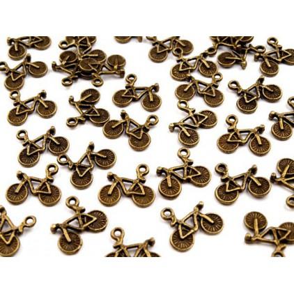 Metalowa zawieszka rowerek - stare złoto 1,4 x 2,5 cm