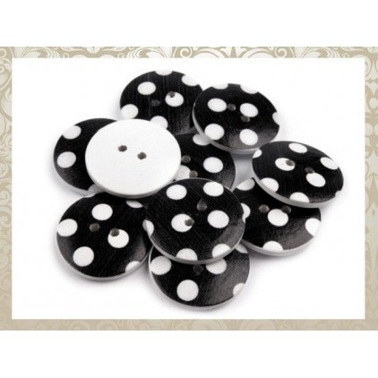Black wooden button with white dots - 2.5 cm