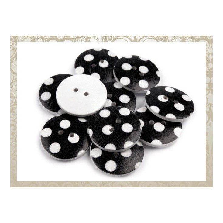 Guzik drewniany czarny w białe kropki - 2,5 cm