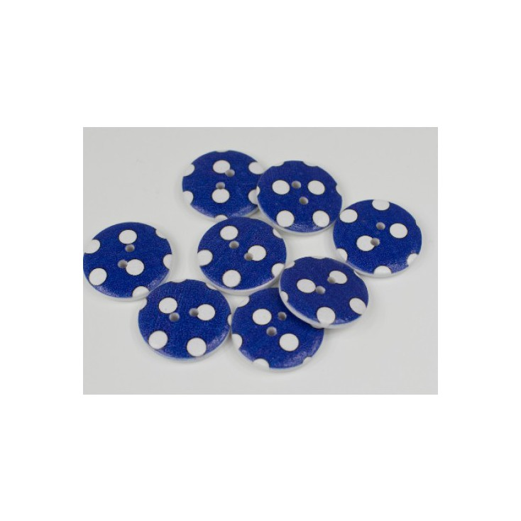 wooden button navy blue with white dots - 2.5 cm