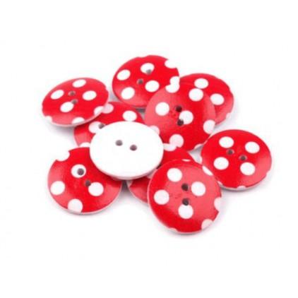 Guzik drewniany czerwony w białe kropki - 2,5 cm