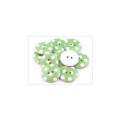 Guzik drewniany zielony w białe kropki - 2,5 cm