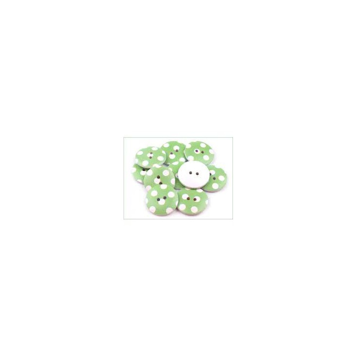 wooden button green with white dots - 2.5 cm